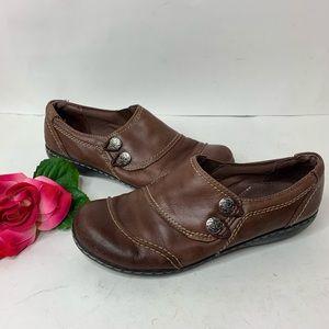 Clark Bendables Womens Sz 8.5 Brown Leather Shoes